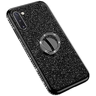 Uposao Kompatibel mit Samsung Galaxy Note 10 Handyhülle mit 360 Grad Ring Ständer Glitzer Bling Strass Diamant Mädchen TPU Silikon Clear Hülle Schutzhülle Durchsichtig Tasche Case,Schwarz
