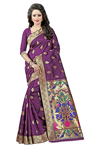 J B Fashion Women's silk saree with blouse piece (maroon)