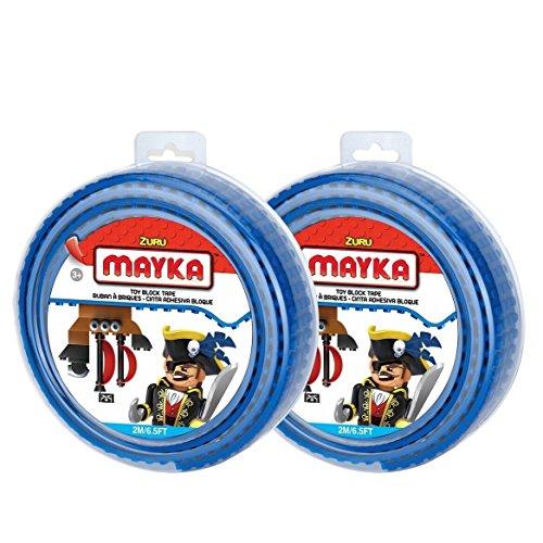 Unbekannt Zuru Mayka Spielbaustein-Band, 2m, ZU087.00, 4 Stud-Rolle, Farblich sortiert, 1 Einheit (Wand-einheit 2 Stück)