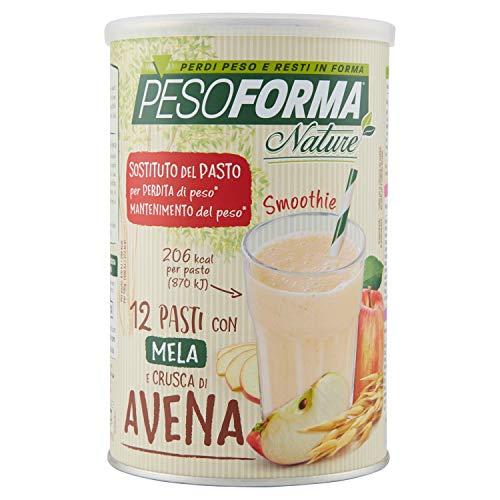 Pesoforma nature smoothie frutta pasto sostitutivo dimagrante solo 206 kcal- shake - 12 pasti mela e crusca di avena