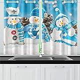 QIAOLII Tre Snow Men Ornamenti Snow Pine Tende da Cucina Tende per Finestra Tende per caffè, Bagno, Lavanderia, Soggiorno Camera da Letto 26 x 39 Pollici 2 Pezzi