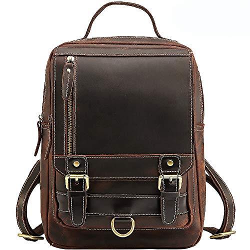 DOSNVG Vintage echtes Leder Herren Aktentasche - Cabrio Kleine Handtasche Messenger Rucksack - Reise/Business/Schule/College Casual Daypack, Coffee - Cabrio Leder Aktentasche