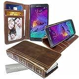 Stylebitz / Étui vintage, classique, rétro, en cuir PU avec pied de support pour Samsung Galaxy NOTE 4 avec chiffon de nettoyage Stylebitz (marron)