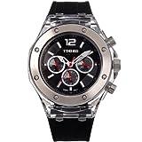 Time100 Orologio Cronografico da Polso per Coppia in Acciaio INOX e in Silicon Donna con Tre Quadranti#W70034L.01AN