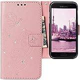 CLM-Tech kompatibel mit Samsung Galaxy A5 2017 Hülle, Tasche aus Kunstleder mit Strass Steinen, PU Leder-Tasche Lederhülle, Schmetterlinge Blumen rosa