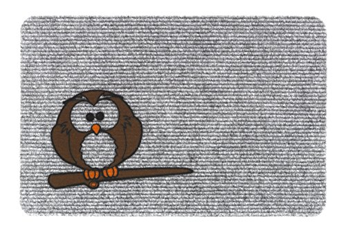 HMT 205 086 Owl Schmutzfangmatte zerbino Flocky, polipropilene, 40x60 cm, grigio