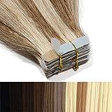 60cm Tape in Extensions Echthaar Remy Human Hair Haarverdichtung Haarverlängerung glatt 50g 20 stück X 4cm #12/613 hell Gold-braun/gebleichtes Blond