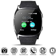 Bluetooth Smart Watch, DXABLE Reloj de pulsera con Cámara Reproductor de música Facebook WhatsApp Sync SMS Smartwatch Soporte SIM TF tarjeta para para el iPhone 7 8 7 Plus 6 Samsung S8 y otros teléfonos inteligentes Android o iOS (Negro)