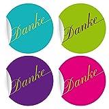 24 elegante, bunte Dankes Aufkleber in 4 verschiedenen Farben, MATTE universal Papieraufkleber für Geschenke, Etiketten für Tischdeko, Pakete, Briefe und mehr (ø 45mm
