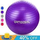arteesol Gymnastikball, Balance Ball 45cm/55cm/65cm/75cm Yoga Ball mit Pumpe Anti-Burst Fitness...