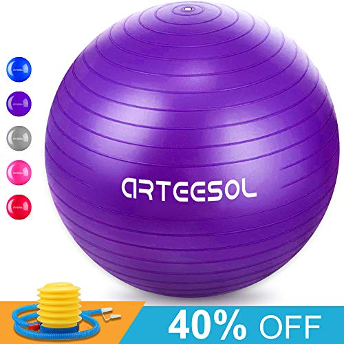 arteesol Gymnastikball, Balance Ball 45cm/55cm/65cm/75cm Yoga Ball mit Pumpe Anti-Burst Fitness Balance Ball für Core Strength (Lila, 75cm)