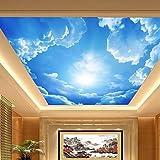 3D Shinny Leder Effekt Große Lobby Deckenleuchte Wandbild Tapete Blau Himmel und Wolken Deckenleuchte Gemälde Art Decor, XL