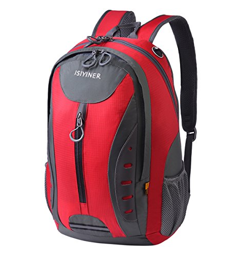 ISIYINER 30L Hiking Backpack Camping Rucksacks for Men Casual Daypack School Shoulder Bag Nylon Men Women Packs for Exploring Climbing Cycling