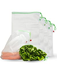 Reusable Produce Bags By FreshMarket, Total Of 7 Premium Washable, Lightweight Polyester 12 X 14 Inch Mesh Bags...
