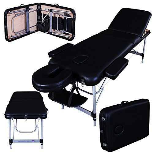 Massage Imperial® Deluxe Lightweight Professional Richmond Aluminium 12Kg - Black 3-Section Portable Massage Table Couch Spa Bed 5cm/2