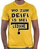 HARIZ  Herren T-Shirt Wo Zum Deifi is MEI Ledane Oktoberfest Outfit Tracht Dirndl Lederhosn Plus Geschenkarte Gold Gelb L