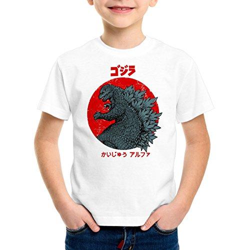 style3 Gojira T-shirt per bambini e ragazzi godzilla giappone nippon kaiju kanji tokio, Colore:bianco;Dimensione:128
