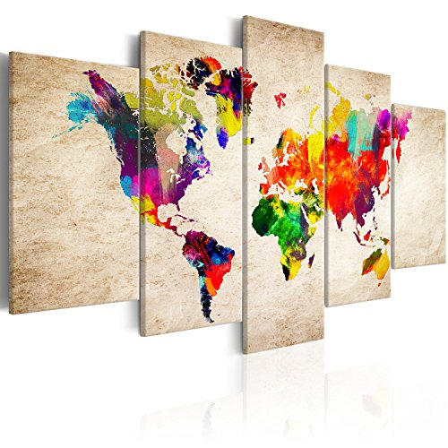 murando Quadro Mappa del Mondo 200x100 cm 5 Pezzi Stampa su Tela in TNT XXL Immagini Moderni Murale Fotografia Grafica Decorazione da Parete Mappa del Mondo Carta Continente k-C-0083-b-m