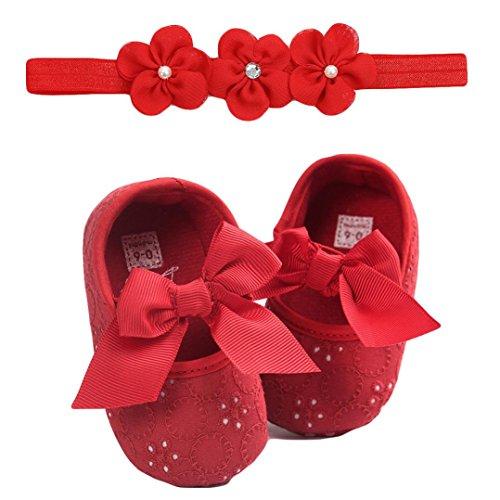 Huhu833 Babyschuhe, 2 Pcs Baby Mädchen Schuh Anti-Rutsch-weiche Sohle Kleinkind Schuhe+ Stirnband (0~6 Month, Rot 5)