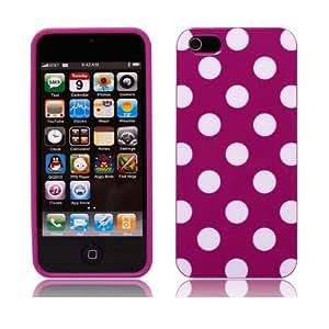 Kit Me Out FR - Apple iPhone 5 5G - Coque de Protection en TPU Gel - Points Pourpre & Blanc + Film Protection Ecran