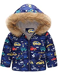 ☺HWTOP Daunenmantel Kleinkind Baby Girl Boy Baumwollmantel Cartoon Auto Print Steppjacke Winter Warme Jacke mit Kapuze Winddicht Übergröße Mäntel