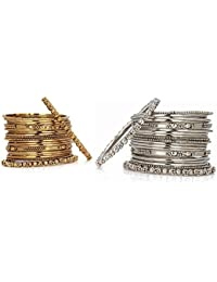 Jewels Gold Antique Simple Designer Comfy Stylish (Combo Of 2) Bangles Set For Women & Girls