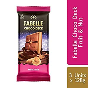 Fabelle Choco Deck Chocolate - Fruit & Nut, 128g (Pack of 3)