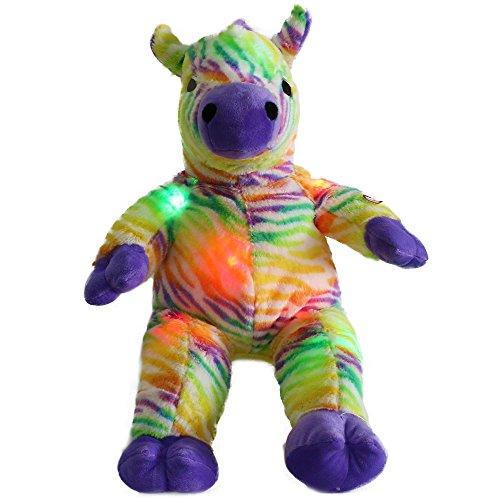 es Nachtlicht LED bunter Regenbogen Zebra lebensechte Gefüllte Tier Spielzeug Geburtstagstag Geschenk für Kinder, 18-Inch/ 45CM (Teddybär Gefälligkeiten)