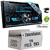 VW Polo 9N3 - Kenwood DPX-X5000BT - 2DIN Bluetooth USB Autoradio - Einbauset
