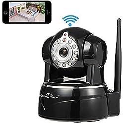 Minidiva® HD IP Kamera / berwachungskamera / Sicherheitskamera / 720P ip cam für den Innenbereich mit Lan und WLAN / Wifi ( IR LED Infrarot Nachtsicht, PIR Wrmesensor, Weitwinkel, Mini SD Karte, Aufnahme, Bewegungserkennung, Audio,P2P) schwarz