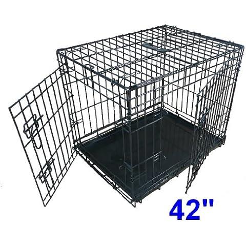 Ellie-Bo cucciolo del cane gabbia pieghevole Crate 2 porta con non-Chew vassoio di metallo Extra Large da 42 pollici nero