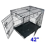 Ellie-Bo Dog Puppy Cage Folding 2 Door Crate with Non-Chew Metal Tray Extra Large 42-inch Black