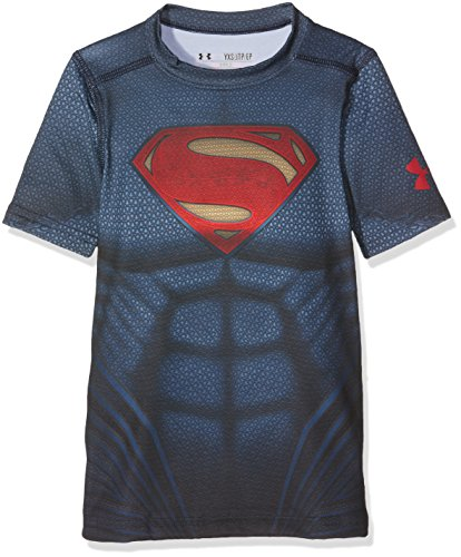 Under Armour: maglie e canotte fitness per ragazzo Superman Suit SS, Ragazzo, Fitness - T-Shirt und Tank Superman Suit SS, Midnight Navy