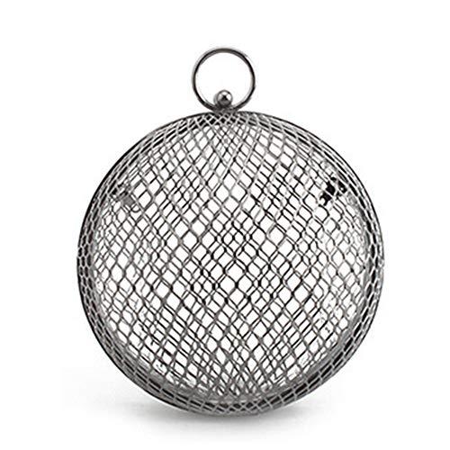 XIANGBAO Frauen-Runde Ball-Kupplungs-Handtasche, Metallring-Griff-Geldbeutel-Abend-Tasche Für Partei-Abschlussball-Hochzeits-Geldbeutel,Guncolor - Griff-abend-geldbeutel