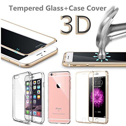 frixie (TM) 3d Covered 9H Vetro Temperato + in TPU, per iPhone 7Plus HD Pellicola Protettiva con Cornice in alluminio 4.75.5 Rose Gold Iphone 7 Rose Gold Iphone 7 Plus