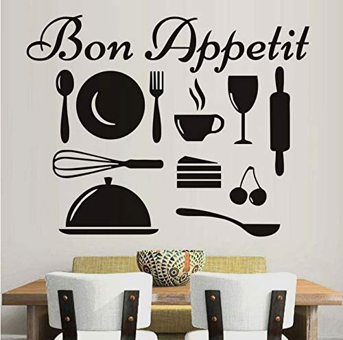 Wiwhy Französisch Vinyl Wall Decal, Geschirr Kunst, Küche Wandaufkleber Kunst, Abnehmbare Diy Wall Cling Wandbilder Home Decor