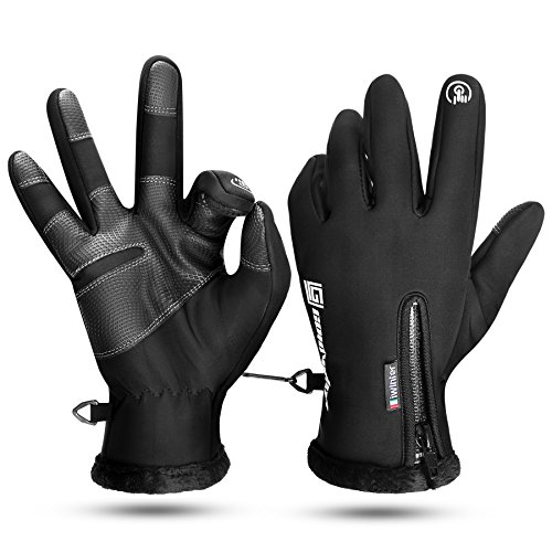 Fahrradhandschuhe männer Lang Fahrrad Handschuhe Herren winter schwarz Rutschfest Winddichte Touch Screen Thermische Full Finger Handschuhe M by KONVINIT
