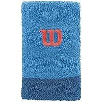 Wilson Extra Wide W Muñequera de Tenis, Hombre, Azul (Blithe/Deep Water Wil), OSFA