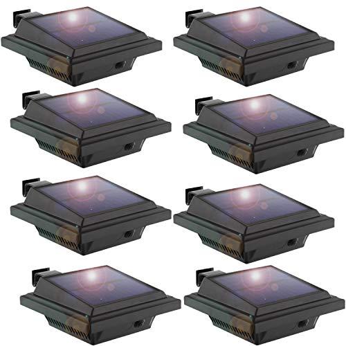 LED Solar Dachrinnenleuchte, KEENZO Solarlampen für Außen, 25LEDs Solarlicht, Auto ON/OFF, Schwarz, Warmes Weiß Licht (8er set) (7x3 Schuppen)