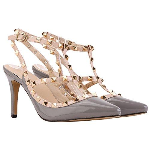 Spitz Nieten Bunt Sandals Übergröße Stilettos High Heels Hohl PU Leder Knopf Freizeit 8cm Pumps Schuhe Damen Grau
