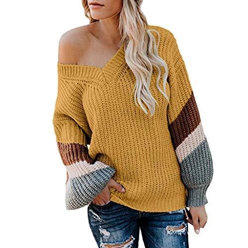 Alwayswin Damen Stricken Pullover Loose Mode Sweater Herbst Winter Warmer Sweatshirt Langarm Oberteile Strickpullover Casual Baumstickerei Bluse Top (1950's Dress Up Kostüm)