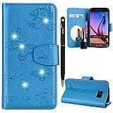 Galaxy S6 Handyhülle,Galaxy S6 Hülle,WIWJ PU Cover Case Leder[Diamant Schmetterling Blume Ledertasche Mit Spiegel]Hülle für Samsung Galaxy S6-Blau