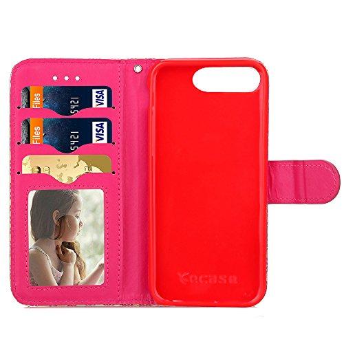 Voguecase® Pour Apple iphone 7 Plus 5,5 Coque, Étui en cuir synthétique chic avec fonction support pratique pour Apple iphone 7 Plus 5,5 (fente rotation-Noir)de Gratuit stylet l'écran aléatoire univer Abstract rainbow-Gris et Rouge