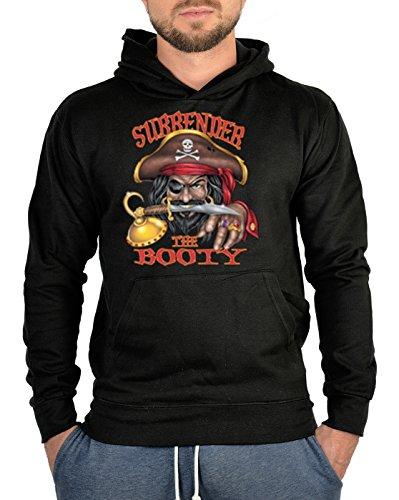 TITAGU Sweatshirt mit Kapuze - Hoodie Piraten Aufdruck: Surrender The Booty - Seeräuber Motiv (Piraten Halloween Sprüche)