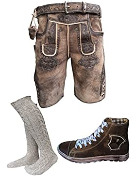 Herren Trachten Set Lederhose hellbraun kurz mit Gürtel + Trachten Sneaker Braun + Trachten Kniebund Socken