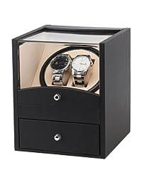Automático girar Watch Winder 2 almacenamiento de cuero (sin reloj)