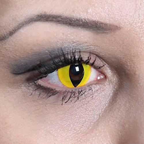 COOLEARTIKEL Halloween/Fasching farbige-Kontaktlinsen gelb-schwarz, 1 Paar 3-Monats Motivlinsen im Design yellow cat - Katzen Auge ohne (Up Kostüm Katze Make Augen)