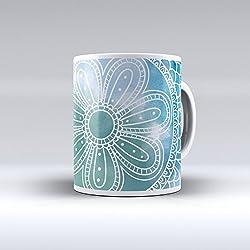 Taza decorada desayuno regalo original diseño estampado mandala azul y verde agua