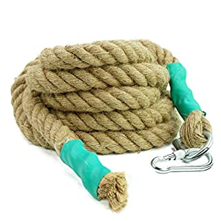 Aoneky Gym Climbing Ropes with Clip for Training, Fitness, Strengthen Muscle Power, Battle, Exercise, Extra Thick 30mm, 40mm Diameter (30mm × 30 Ft)