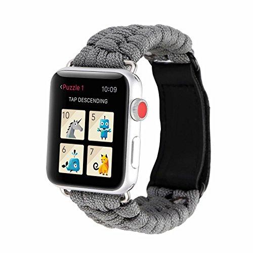 Outter Smart Apple Watch Armband 38mm 42mm, Sport Nylon Seil Armband Einstellbares Ersatz Uhrenarmband mit Klettverschluss Schnalle für Apple Watch Series 3 2 1 Sport Edition - 1 2 Nylon-seil